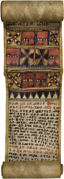 Ge'ez scroll, Ethiopia, 19th century. Contains prayer of Susenyos, prayer for the expulsion of disease and the demon Shotalay, prayer against the evil eye, prayer against rheumatism and sciatica, prayer against haemorrhage and prayer against Zar Wellaj