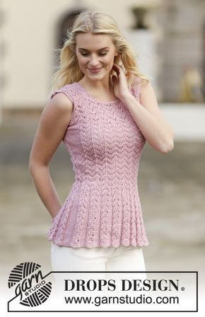 """You can only love this beautiful top with #lace pattern in """"Muskat""""! #FreePattern now available on our website! #knitting"""