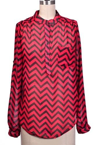 $26.95 Chevron Blouse Glam Top Red - Kelly Brett Boutique