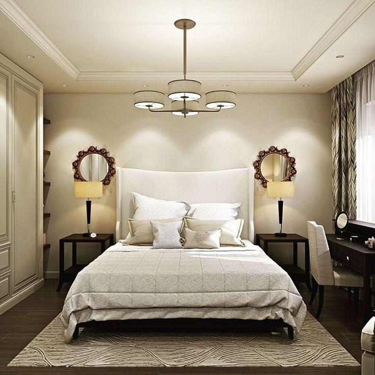 """Спокойная светлая спальня в стиле Нео-классика. Бежевый цвет - наверное, тот редкий случай, когда он никогда не надоедает и не утомляет. Он подстраивается под """"окружение"""": утром стены будут  отражать яркий солнечный свет, а вечером - спальня покажется более """"теплой"""", уютной, камерной при включении настольных ламп. Выполнена для квартиры в Институтском переулке.  Gentle light bedroom in Neo-classic style. Beige color never annoys and bores: it makes the room full of sun in the morning and…"""