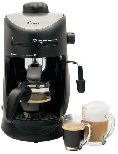 Features:  -Espresso and Cappuccino Machine.  -4-cup high-tech steam/boiler system.  -Boiler cap with built-in safety valve.  -Unique Coffee/Steam Selector allows you to move from coffee to steaming a