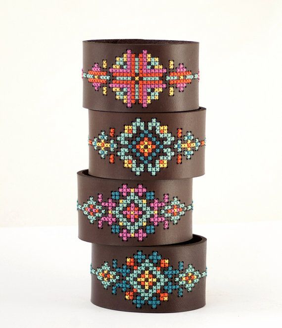 Learn how to make your very own embroidered leather cuffs, with a kit from RedGateStitchery on Etsy. #DIY