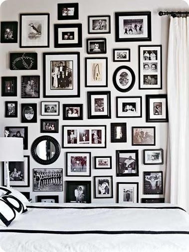 A family history wall in a guest bedroom or hallway, is a nice way to see aunts, uncles, grandma, grandpa and all those cousins, out of the photo albums and where you can see them. This also give you a sense of family.  Your roots, where you came from. . .