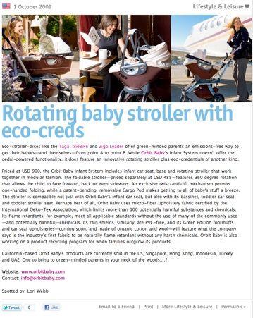 TRENDS- Orbitbaby, Eco Baby Stroller.