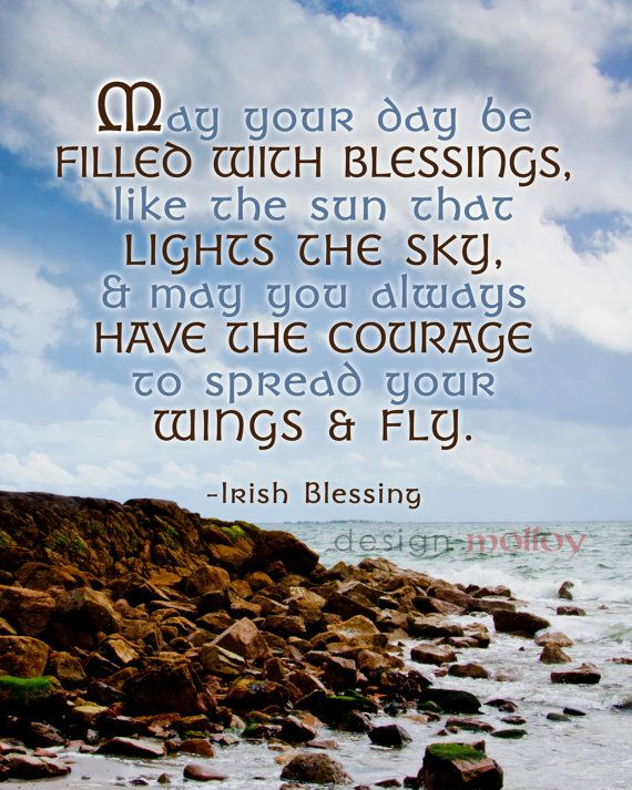 """This Irish blessing is set upon a beautiful photograph from Salthill, Galway, Ireland. """"May your day be filled with blessings, like the sun that lights the sky, & may you always have the courage to spread your wings and fly."""""""