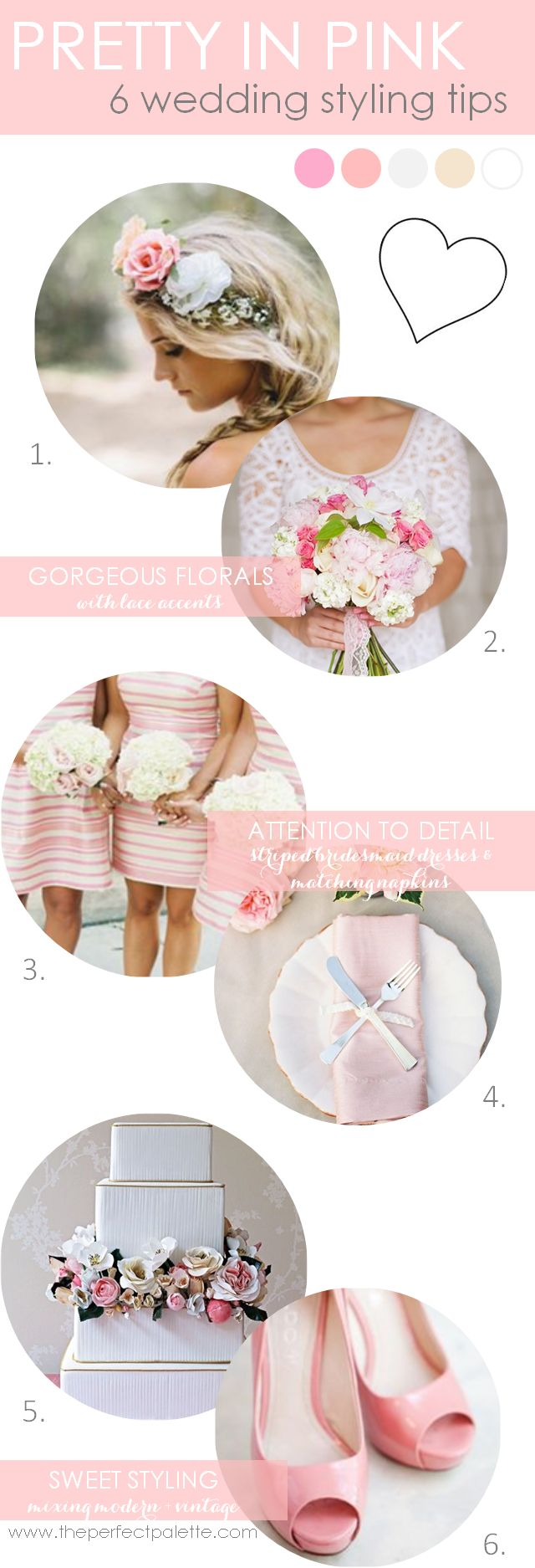 6 Wedding Styling Tips | Styling tips on how to use color to bring your wedding to life! http://www.theperfectpalette.com/2013/10/pretty-in-pink-color-your-wedding.html