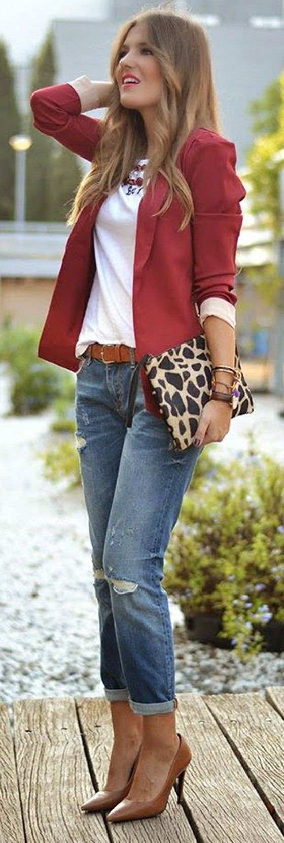Comfy Weekend Fashion! Wine Red Plain Shawl Lapel No Button Fashion Blazer - Suits - Tops #Weekend #Casual #T_Shirt #Jeans #Sexy #Heels #Outfit #Ideas