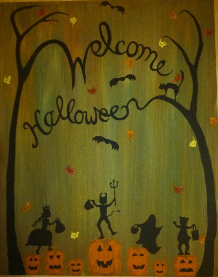 For Sale: Welcome Halloween - Great painting to put up Halloween night, or at a halloween party! Shadowy figures of children dressed up, leaping from pumpkin to pumpkin amid the fall trees! call Mary 705 718-7114 or visit marymakeskeepsakes.ca to view more artwork