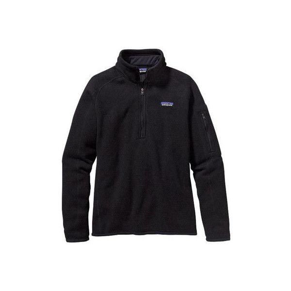 Women's Patagonia Better Sweater 1/4 Zip 25617 - Black Fleece... ($99) ❤ liked on Polyvore featuring tops, sweaters, black, patagonia sweater, black fleece top, layered tops, black top and patagonia