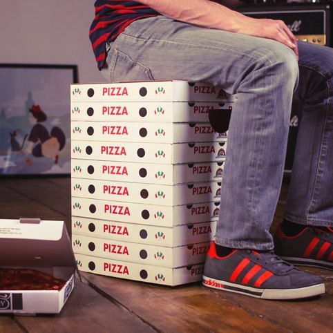 The Incredible Pizza Box Stools These cardboard stools feature photo-realistic designs of a pile of pizza boxes books stack vinyl records and a beer ... & 126 best Sit or Sleep on Your Food images on Pinterest   Christmas ... Aboutintivar.Com