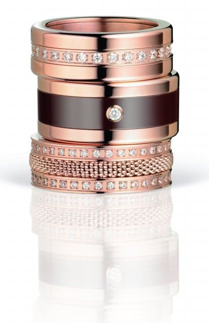 BERING; Arctic Symphony Collection; Ladies Rings; Twist & Change; rosé gold; Ring Combination