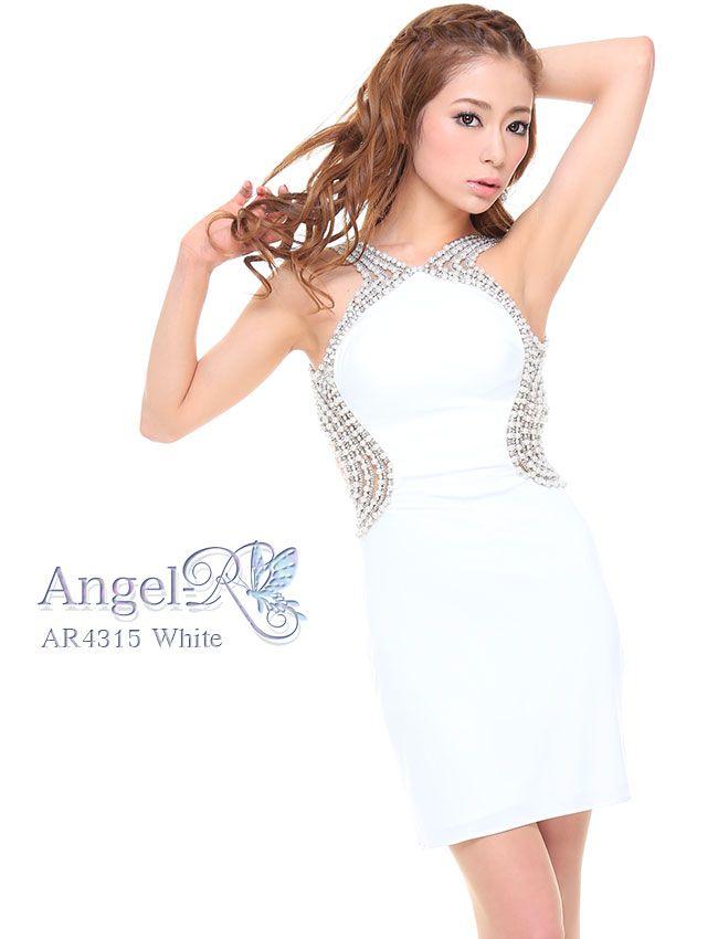 エンジェルアールの完璧な1着に一目惚れ!伸縮性のある高級素材に五本のパールラインでパーフェクトなデザインAngelR AR4315 ストレッチスムース艶SEXYミニドレス