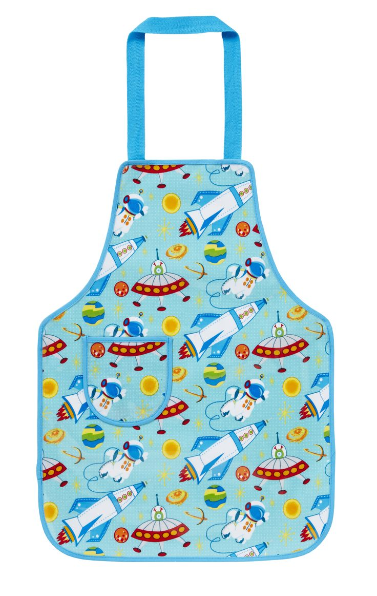 Space PVC Childrens Apron by Ulster Weavers. Perfect for the kids when baking or cooking in the kitchen. PVC coating for easy clean.