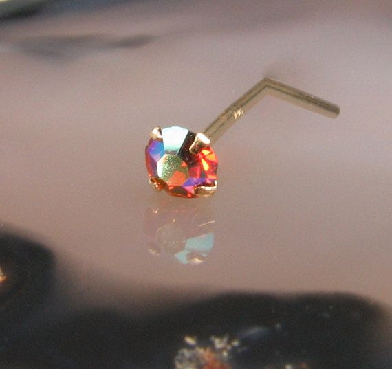 Nose Stud L Bend L Shaped Nose Ring Yellow Gold by JustNoseRings, $29.99