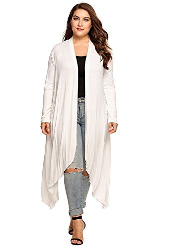 cfecd99ee98 Womens Plus Size Long Sleeve Loose Waterfall Drape Open Front Long Maxi  Cardigan XXL White