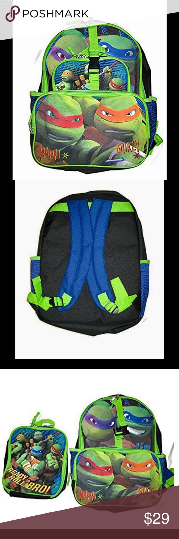 Teenage Mutant Ninja Turtles Backpack Brand New - Teenage Mutant Ninja Turtles Backpack with Detachable Lunch Bag 16 inch backpack with mesh pockets Lunch bag Nickelodeon Accessories Bags