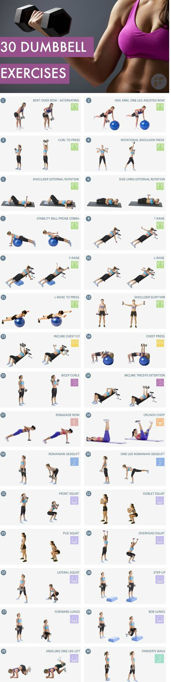 30 Must dumbbell exercises for at home workouts. Dumbbells are versatile free weight equipments that offer benefits other gym equipments can't. They can be used to tone up your full-body, burn calories and improve balance, stabilization and range of motio