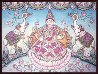 Indian painting, Goddess Laxmi or Lakshmi