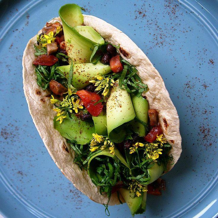 Taco Thursday. #Avocado Ribbons + Smoked Chipotle Black Bean Mushroom + Broccoli Rabe Flowers and Leaves + Cilantro Jalapeño Dressing  @conscious_cooking