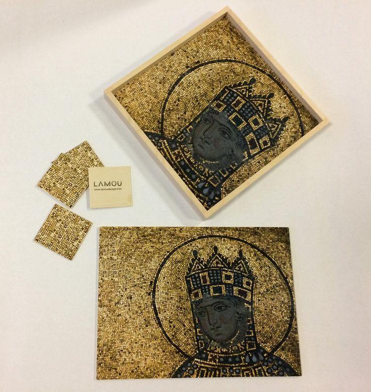 Mosaic Pattern Tray, Wood Ottoman Tray, Byzantine Icon