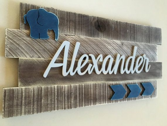 Nursery wood name sign Distressed nursery name Rustic with bear or other woodland animal instead of elephant.