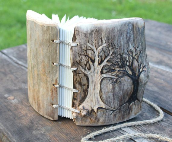 Rustic wood wedding journal Coptic stitched