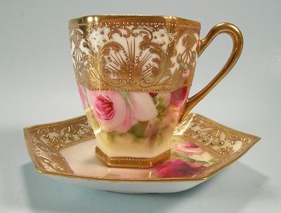 Jeeled Cup And Saucer Nippon Chocolate Cup And Saucer Jewels Hand Painted Roses