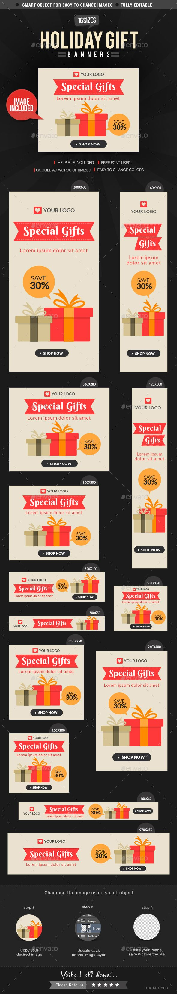 Holiday Gift Banners Template PSD | Buy and Download: http://graphicriver.net/item/holiday-gift-banners/9697783?ref=ksioks
