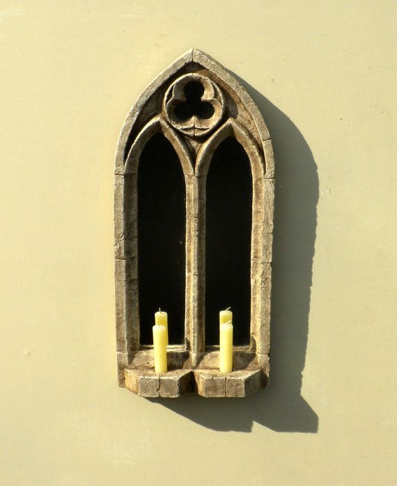 VINTAGE GOTHIC STONE arched double sconce mirror frame