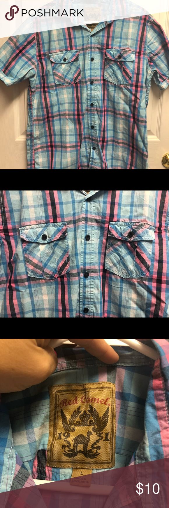 Blue and pink strip short sleeve button up Short sleeve button up  From Red Camel (Belk) In great condition Red Camel Shirts Casual Button Down Shirts
