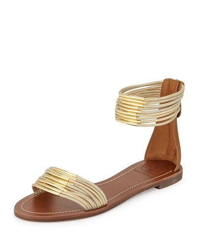 Mignon Rings Strappy Flat Ankle-wrap Sandal, Gold by Tory Burch. Happy that  sexy flats are back for us tall & clumsy ladies.