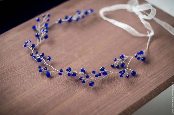 тёмно-синий, венок, венок невесте, синяя свадьба, синий цвет, синий венок, синий ободок, синяя заколка, волосы невесты, свадебные волосы, свадьба, синее украшение, синий цвет