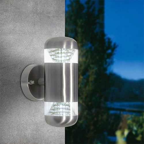 Bright Star LED, Up and Down Facing Wall Light Stainless Steel with Clear Polycarbonate Cover