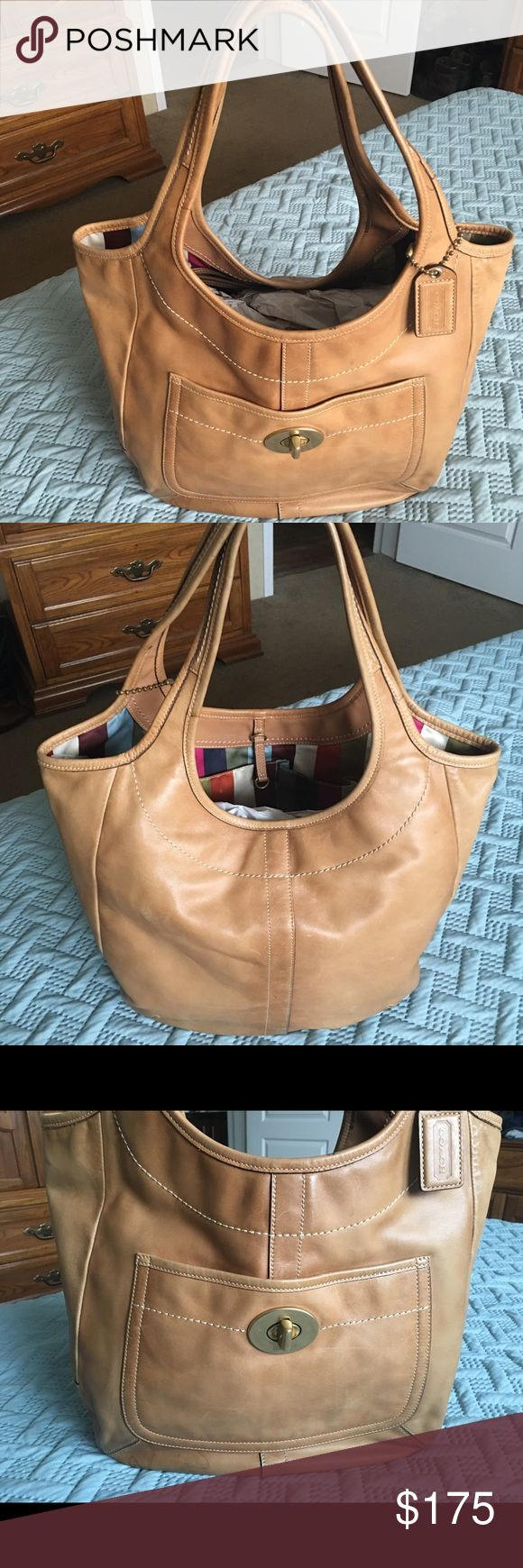 Authentic Coach Handbag Beautiful Legacy Leather Handbag. Smoke free home. Bag is used and shows wear. I took it by a local dry cleaner and was told it could be sent to a leather cleaning place and look good as new. It has no odors. Please look at all pics. Coach Bags Shoulder Bags