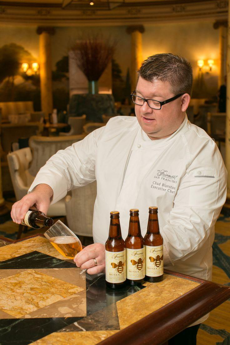 Fairmont San Francisco Executive Chef Chad Blunston pouring Fairmont Honey Saison Beer by Almanac Brewing Co.