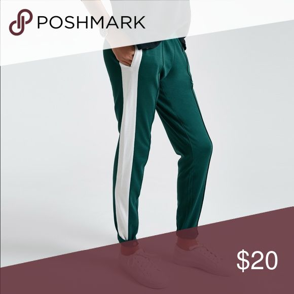 Teal green jogger with white stripe Size M worn once snap detail at ankle Pants Track Pants & Joggers