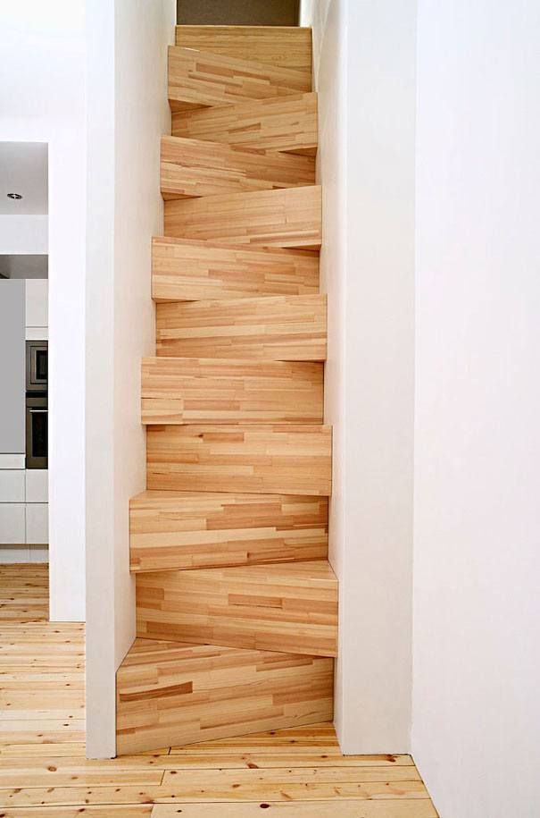 alternating wooden steps to save space                                                                                                                                                                                 More
