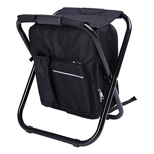 Fishing Backpack Chair,Portable Camping Stool,Foldable Backpack Stool with Double Layer Oxford Fabric Cooler Bag for Fishing,Beach,Camping,House and Outing (Black)