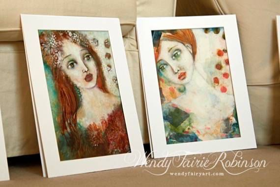 Girl with falling petals by WendyFairyArt on Etsy