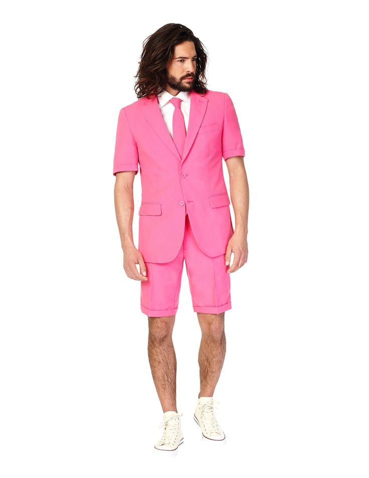 Traje de verano Mr Pink hombre Opposuits™: Este traje de 3 piezas de Mr Rosa para hombre es deOpposuits™.Incluye chaqueta, pantalón corto y corbata (camisa y zapatos no incluidos).Esta chaqueta de manga corta tiene 2...
