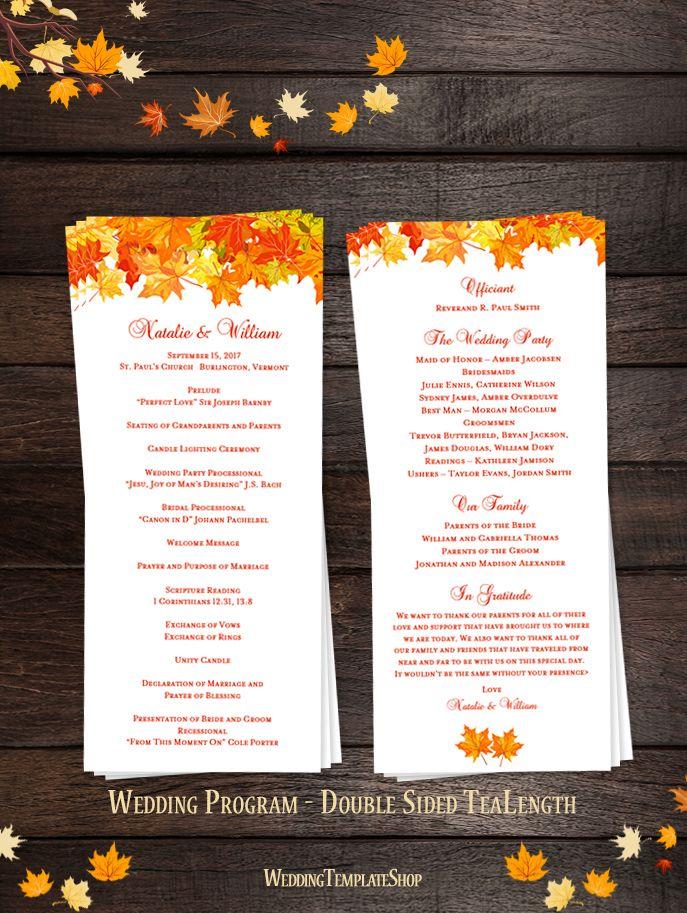 Fall Wedding Program DIY Order Of Service Printable Templates You Edit Print
