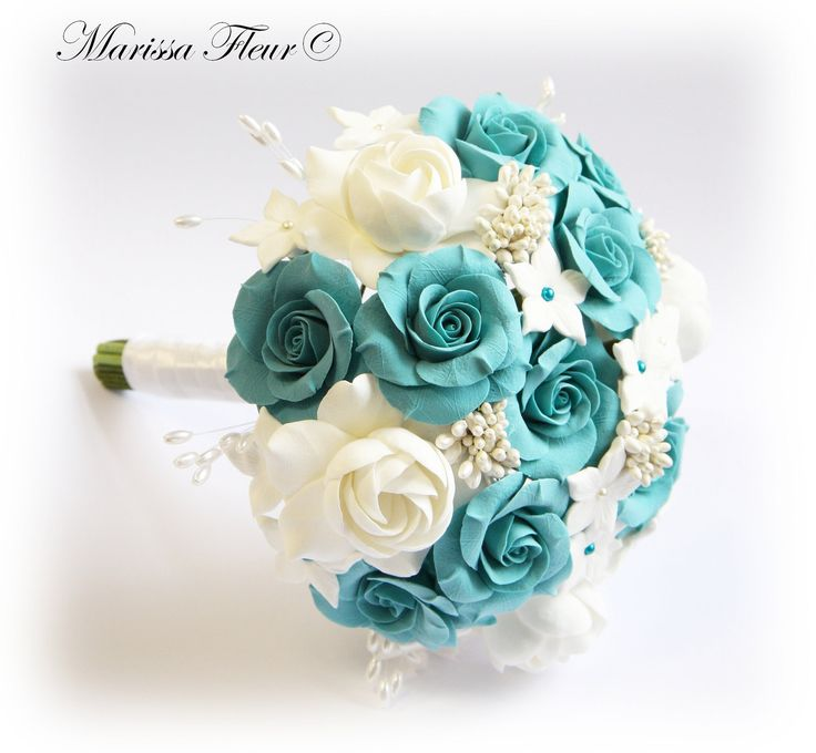 """Bridal Bouquet  And Groom's Boutonniere, With Turquoise / Aqua Blue Roses, White Gardenias And Stephanotis Flowers (7""""). $220.00, via Etsy."""