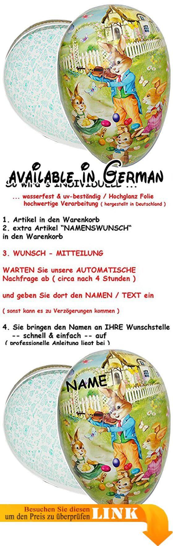 """3 Stück _ XXL - Füll - Pappei 38 cm - """" Osterhase mit Violine / Musikinstrument """" - Osterei / Ei zum Befüllen - Deko Pappe Papp Pappeier - Dekoei Pappostereier Füllen - Osterdeko - Ostern - Dekoration / Geschenk - Ostereier Suchen - Füllei. 3 Stück _ sehr große und hochwertige XXL Pappeier mit schönem - """" Osterhase mit Violine / Musikinstrument """" - Motiven. Größe: circa 38 cm lang ; 24 cm breit und 24 cm hoch - Material: aufwenig bedruckte und mit Lack beschichtete"""
