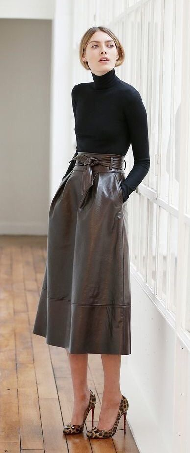Long leather skirt, belted, high waisted, fashion