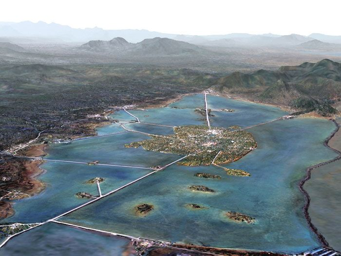 Digital reconstruction of Tenochtitlan and its surroundings. Reconstrucción digital de Tenochtitlán y sus alrededores.