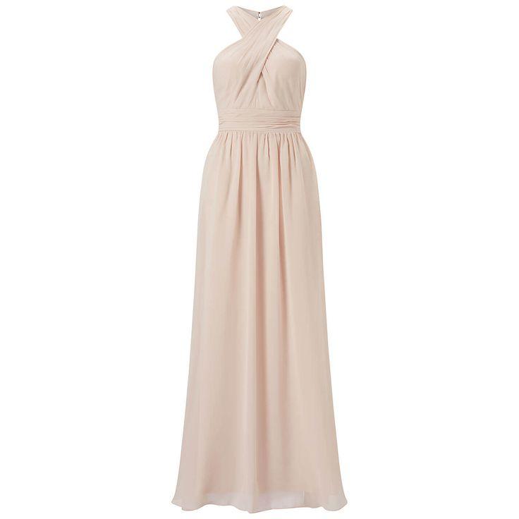 Jurken Huren. Adrianna Papell. Victoria. Maxi dress. Halter neckline. Long dress. Nude color. Black tie. White tie.