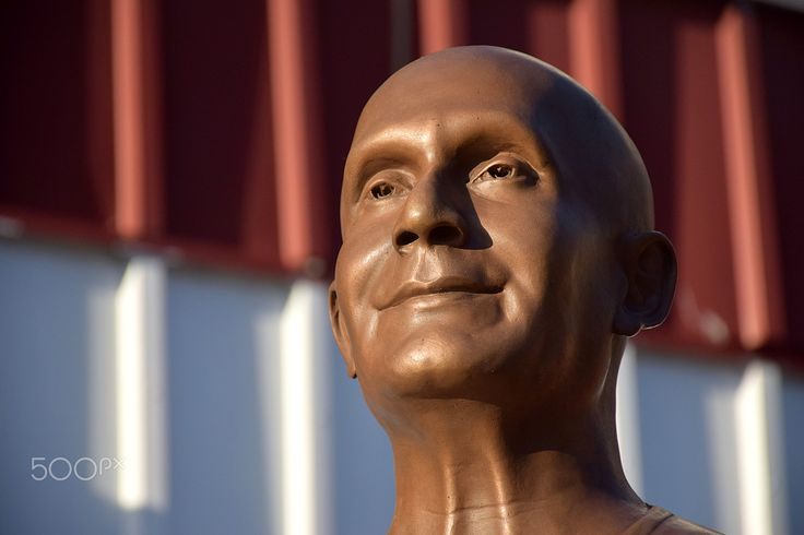 Sri Chinmoy - A portion of a statue of Sri Chinmoy.