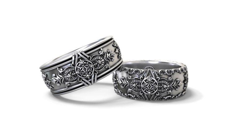 Boda gótica bandas su y suyo set - plata, oro, paladio, platino de GreyWolfJewellery en Etsy https://www.etsy.com/es/listing/254108828/boda-gotica-bandas-su-y-suyo-set-plata