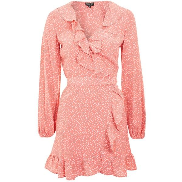 339ca2894e Topshop Spotted Ruffle Wrap Tea Dress ( 55) ❤ liked on Polyvore featuring  dresses