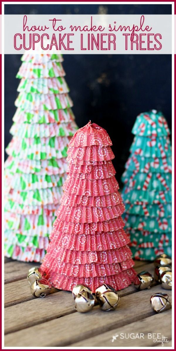 Create these fun little Christmas trees with cupcake liners! Visit our 100 Days of Homemade Holiday Inspiration for more recipes, decorating ideas, crafts, homemade gift ideas and much more!